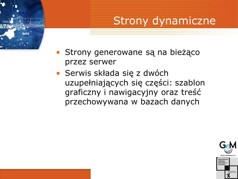Strony dynamiczne Strony generowane są na bieżąco przez serwer Serwis składa się z dwóch uzupełniających się części: szablon graficzny i nawigacyjny oraz treść przechowywana w bazach danych