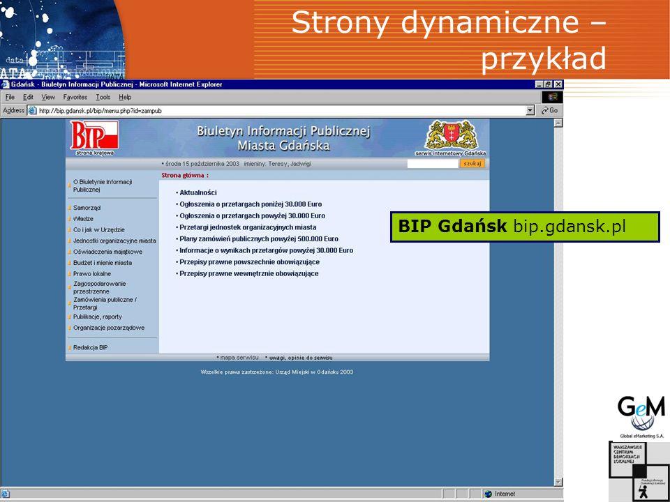 Strony dynamiczne – przykład BIP Gdańsk bip.gdansk.pl
