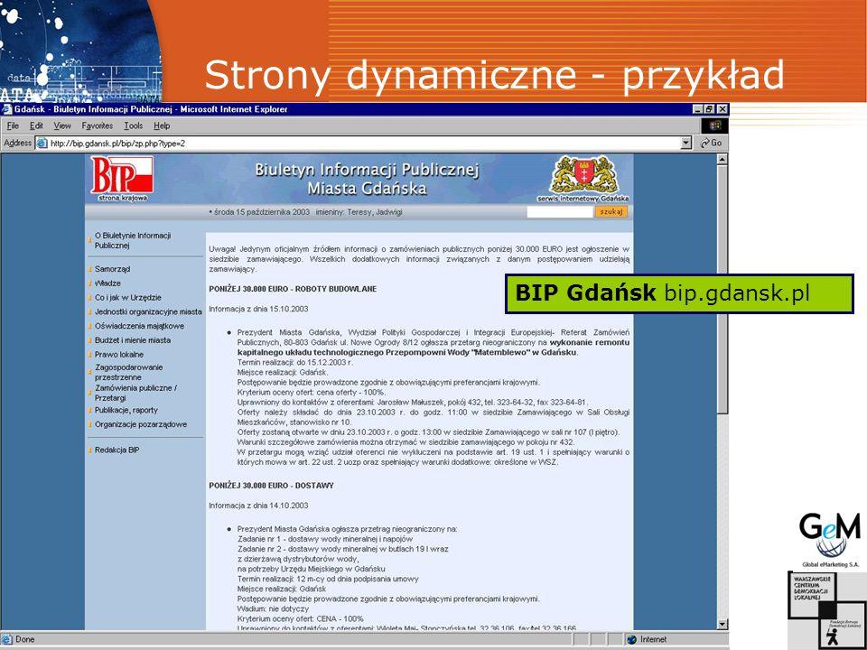 Strony dynamiczne - przykład BIP Gdańsk bip.gdansk.pl