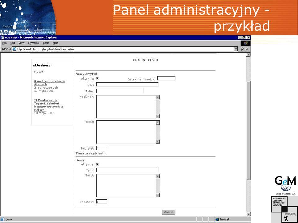 Panel administracyjny - przykład