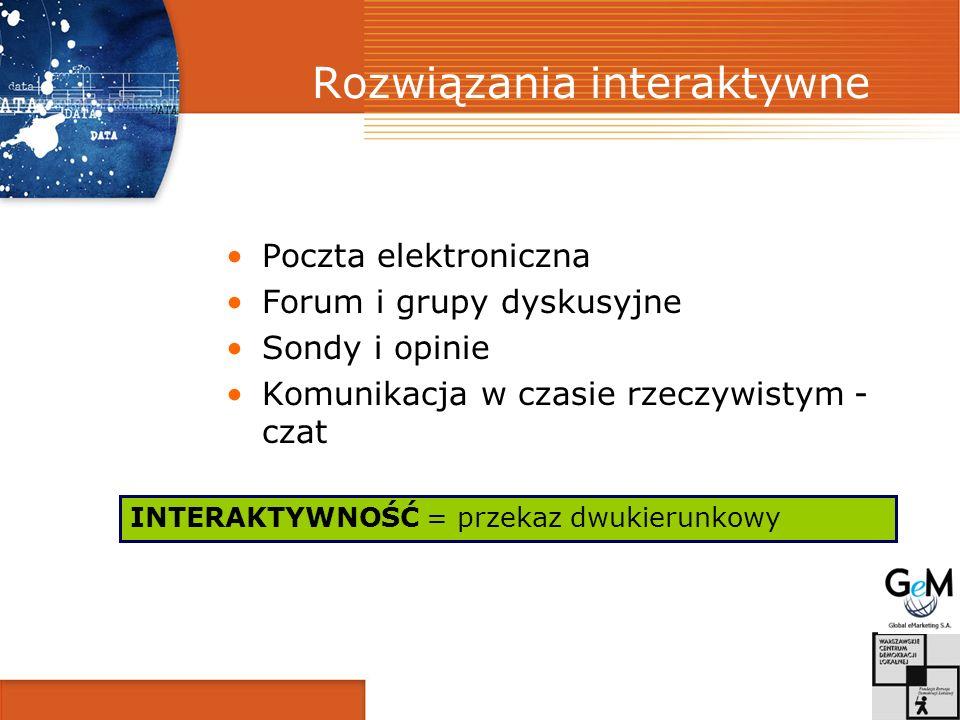 Rozwiązania interaktywne Poczta elektroniczna Forum i grupy dyskusyjne Sondy i opinie Komunikacja w czasie rzeczywistym - czat INTERAKTYWNOŚĆ = przekaz dwukierunkowy