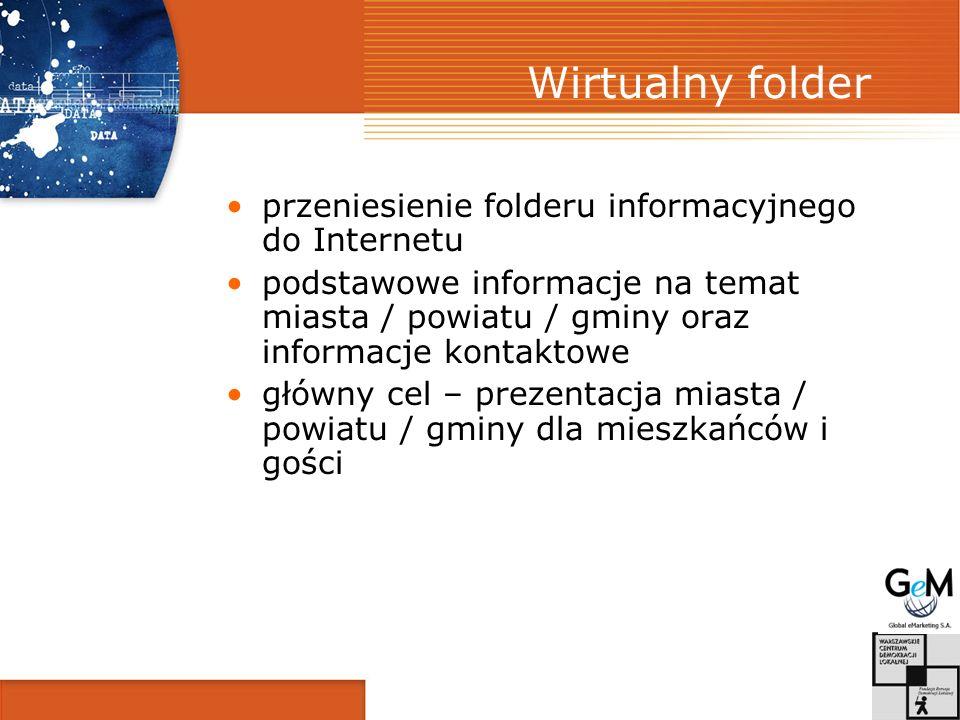 Wirtualny folder przeniesienie folderu informacyjnego do Internetu podstawowe informacje na temat miasta / powiatu / gminy oraz informacje kontaktowe