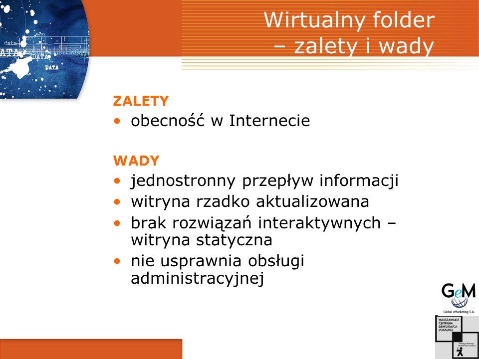 Wirtualny folder – zalety i wady ZALETY obecność w Internecie WADY jednostronny przepływ informacji witryna rzadko aktualizowana brak rozwiązań interaktywnych – witryna statyczna nie usprawnia obsługi administracyjnej