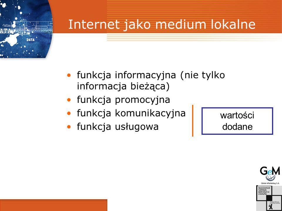 Internet jako medium lokalne funkcja informacyjna (nie tylko informacja bieżąca) funkcja promocyjna funkcja komunikacyjna funkcja usługowa wartości dodane