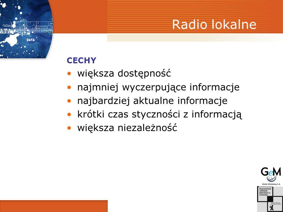 Radio lokalne CECHY większa dostępność najmniej wyczerpujące informacje najbardziej aktualne informacje krótki czas styczności z informacją większa niezależność