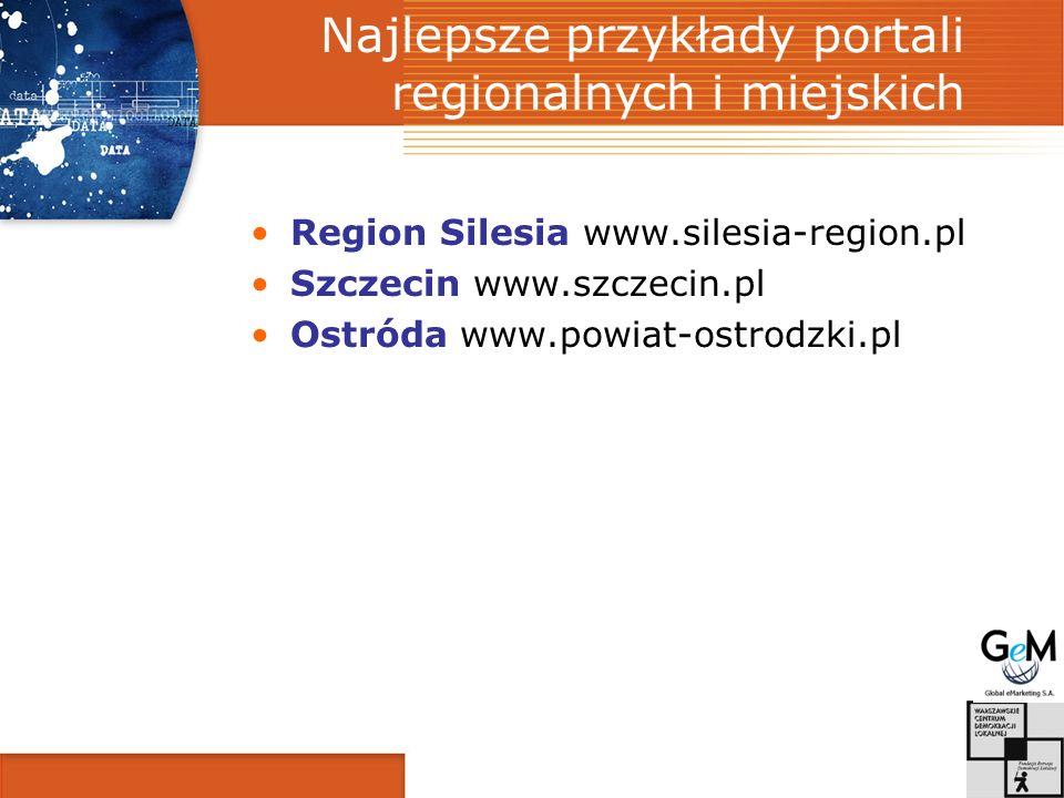 Najlepsze przykłady portali regionalnych i miejskich Region Silesia www.silesia-region.pl Szczecin www.szczecin.pl Ostróda www.powiat-ostrodzki.pl