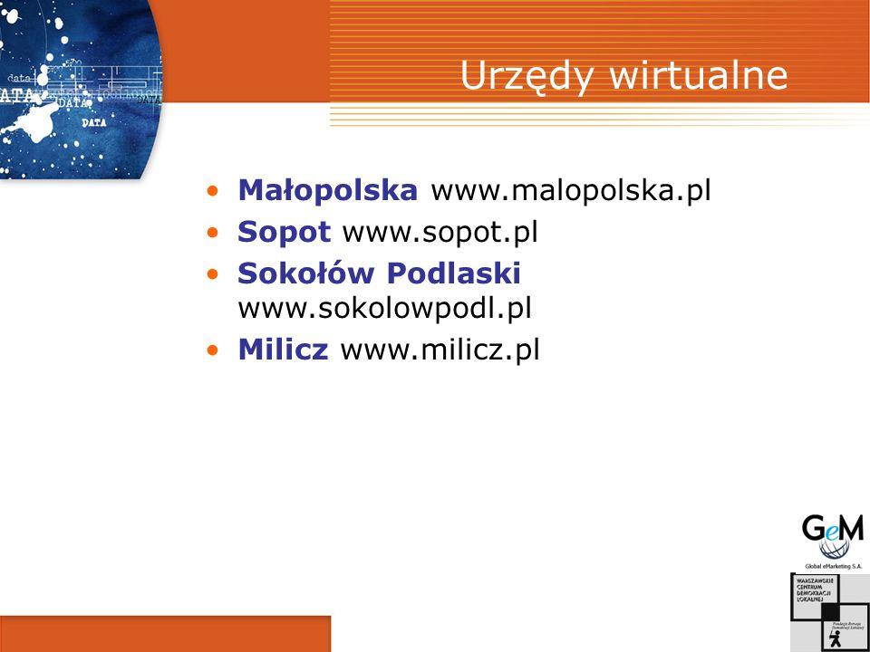 Urzędy wirtualne Małopolska www.malopolska.pl Sopot www.sopot.pl Sokołów Podlaski www.sokolowpodl.pl Milicz www.milicz.pl