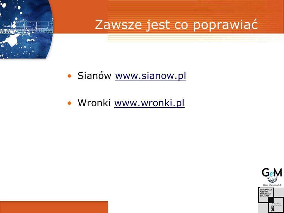 Zawsze jest co poprawiać Sianów www.sianow.plwww.sianow.pl Wronki www.wronki.plwww.wronki.pl
