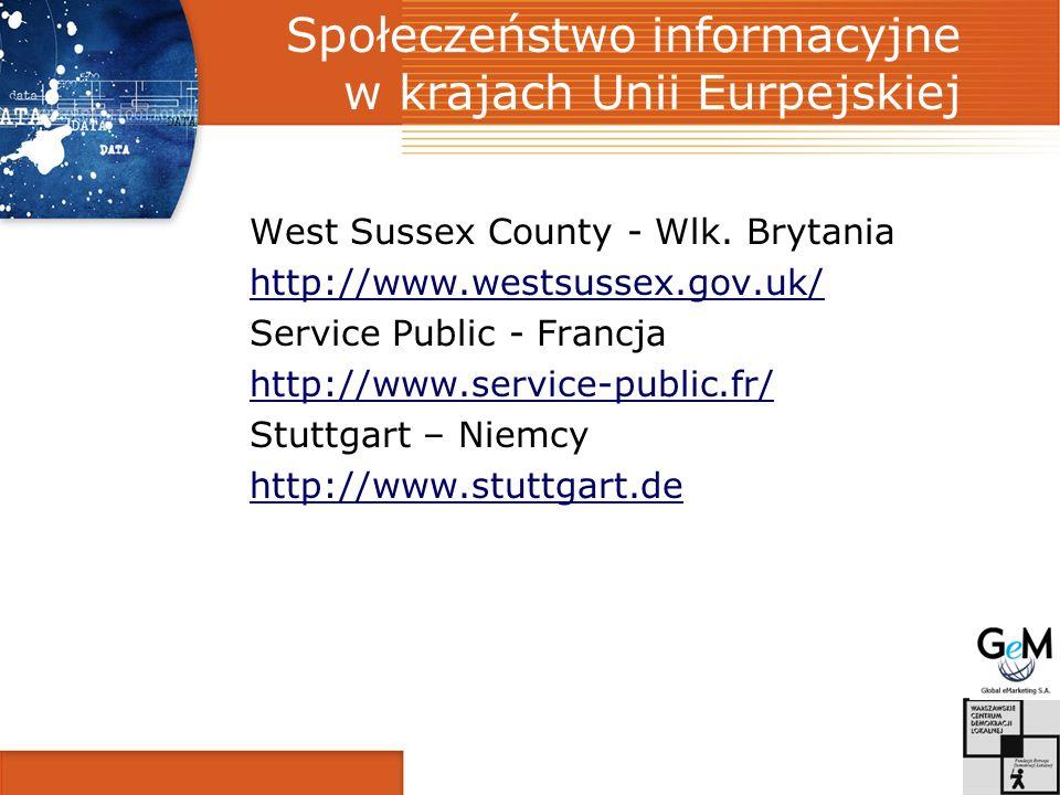 Społeczeństwo informacyjne w krajach Unii Eurpejskiej West Sussex County - Wlk.