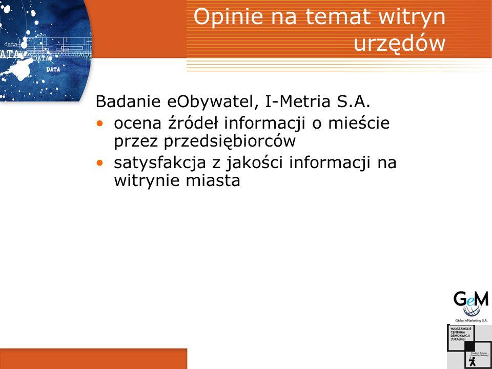 Opinie na temat witryn urzędów Badanie eObywatel, I-Metria S.A.