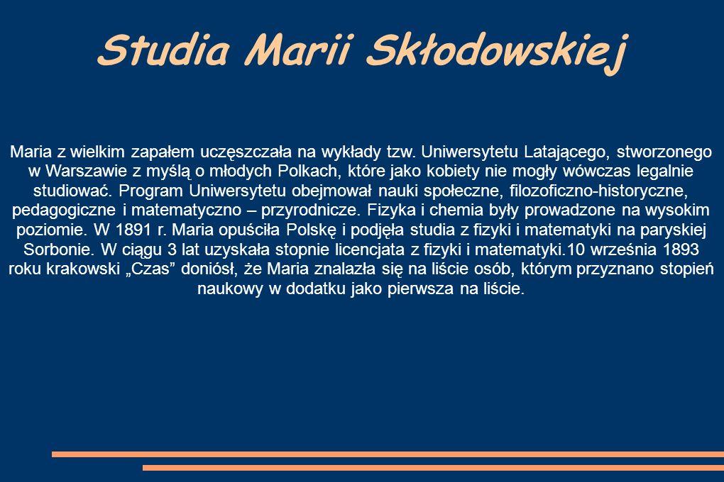 Pierwsza nagroda Pierwszą Nagrodę Nobla Maria Skłodowska Curie otrzymała wraz z mężem w 1903 r.