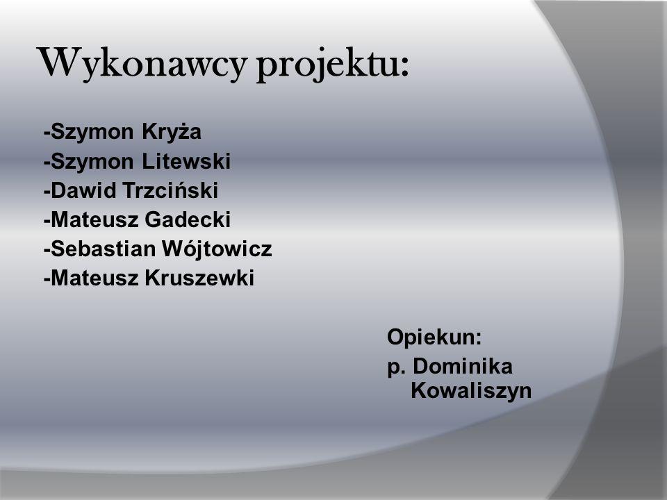Wykonawcy projektu: -Szymon Kryża -Szymon Litewski -Dawid Trzciński -Mateusz Gadecki -Sebastian Wójtowicz -Mateusz Kruszewki Opiekun: p.