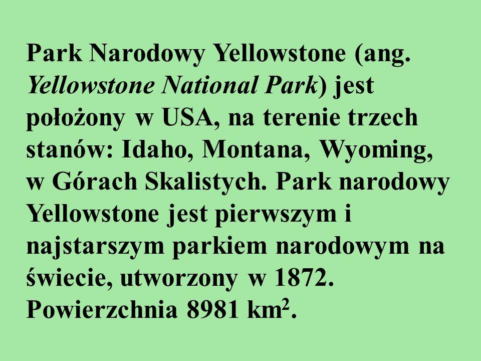 Park Narodowy Yellowstone (ang. Yellowstone National Park) jest położony w USA, na terenie trzech stanów: Idaho, Montana, Wyoming, w Górach Skalistych