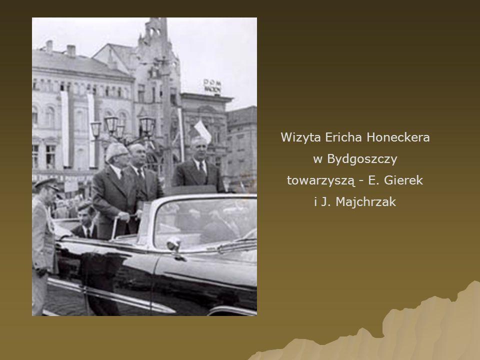 Wizyta Ericha Honeckera w Bydgoszczy towarzyszą - E. Gierek i J. Majchrzak