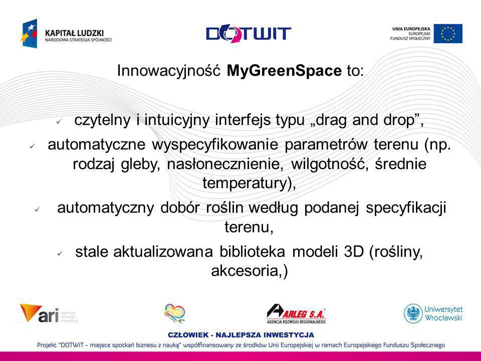 Innowacyjność MyGreenSpace to: czytelny i intuicyjny interfejs typu drag and drop, automatyczne wyspecyfikowanie parametrów terenu (np. rodzaj gleby,
