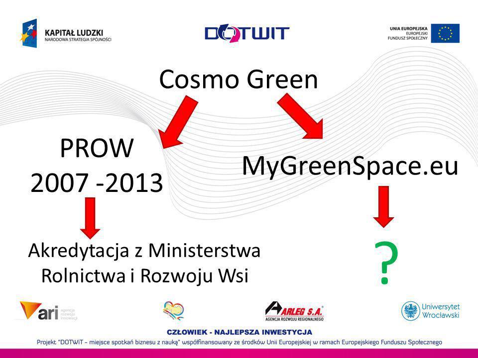 Cosmo Green PROW 2007 -2013 MyGreenSpace.eu Akredytacja z Ministerstwa Rolnictwa i Rozwoju Wsi ?