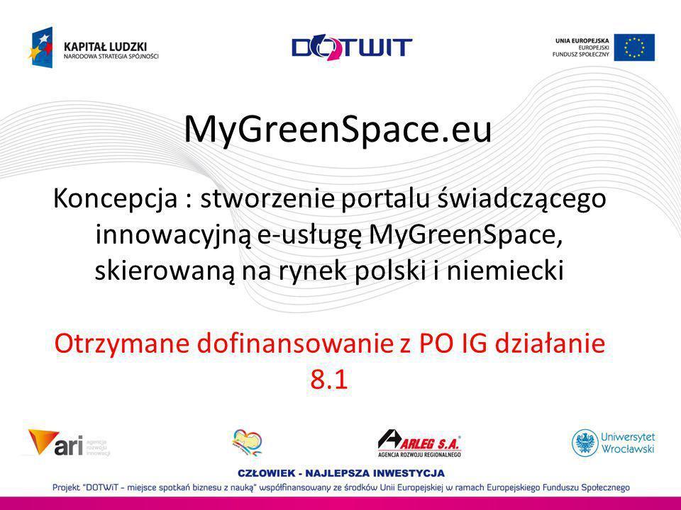 Koncepcja : stworzenie portalu świadczącego innowacyjną e-usługę MyGreenSpace, skierowaną na rynek polski i niemiecki Otrzymane dofinansowanie z PO IG