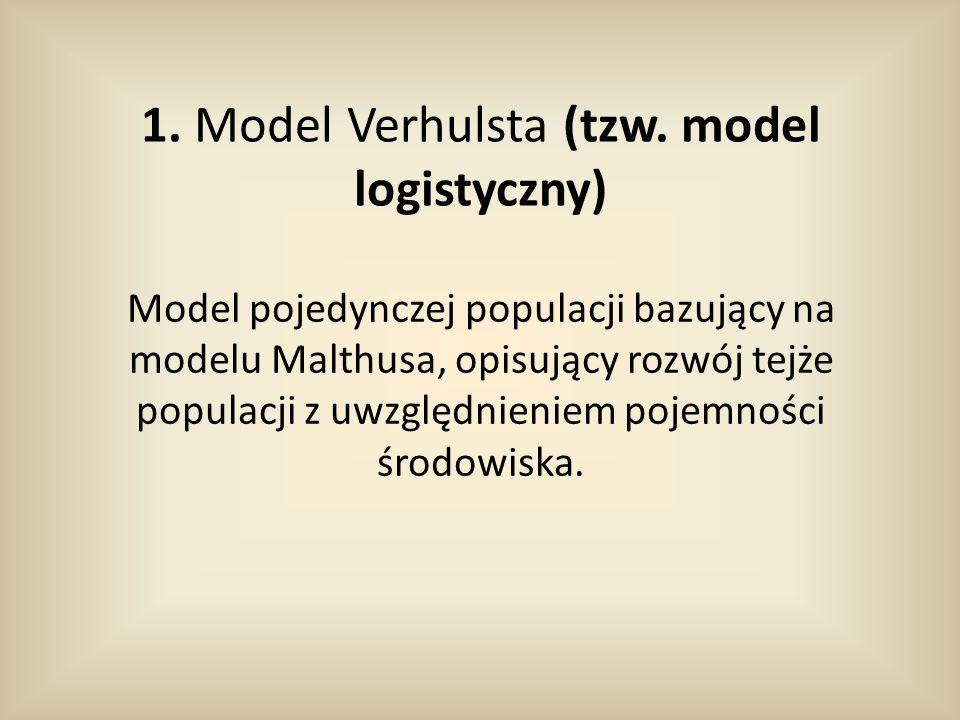 Założenia modelu: -w środowisku występuje tylko jeden gatunek Ɛ *zasoby środowiska są ograniczone-występuje konkurencja wewnątrzgatunkowa *liczebność populacji nie przekracza pojemności środowiska -osobniki są jednorodne -każdy osobnik dzieli się co Ƭ jednostek czasu -każdorazowo z jednego osobnika w chwili podziału rodzi się λ nowych osobników -w przedziale czasu (t, t+Δt) chwile, w których występuje rozmnażanie są rozłożone równomiernie