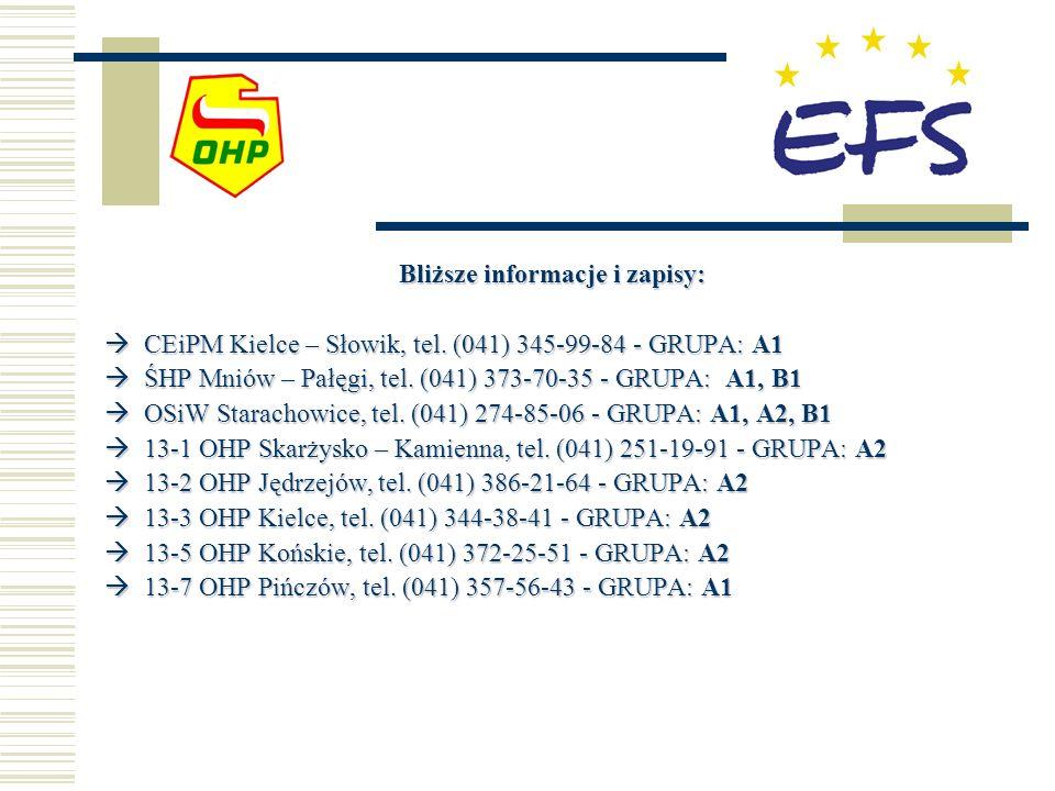 Bliższe informacje i zapisy: CEiPM Kielce – Słowik, tel. (041) 345-99-84 - GRUPA: A1 CEiPM Kielce – Słowik, tel. (041) 345-99-84 - GRUPA: A1 ŚHP Mniów
