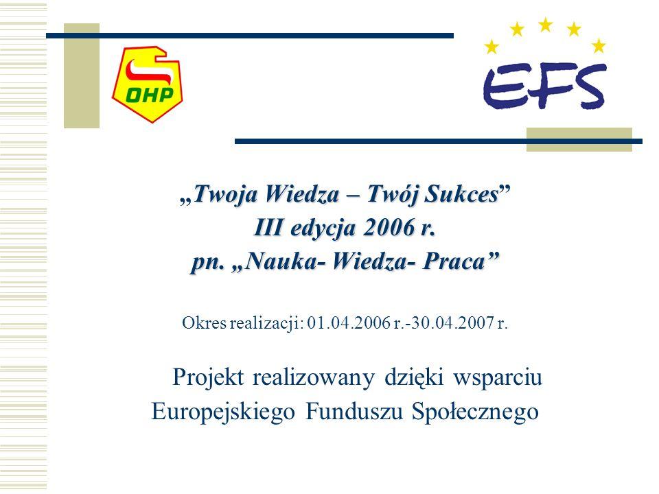 Twoja Wiedza – Twój SukcesTwoja Wiedza – Twój Sukces III edycja 2006 r. pn. Nauka- Wiedza- Praca Okres realizacji: 01.04.2006 r.-30.04.2007 r. Projekt