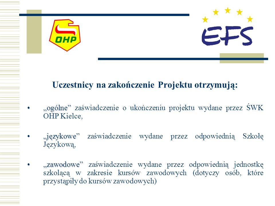 Uczestnicy na zakończenie Projektu otrzymują: ogólneogólne zaświadczenie o ukończeniu projektu wydane przez ŚWK OHP Kielce, językowejęzykowe zaświadcz