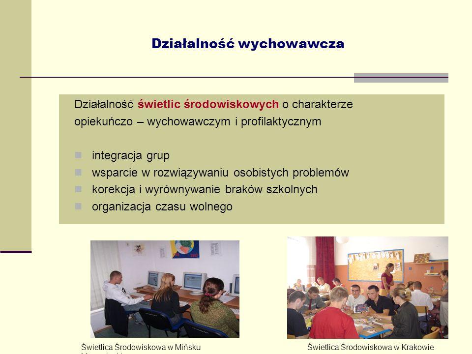 13 Działalność wychowawcza Działalność świetlic środowiskowych o charakterze opiekuńczo – wychowawczym i profilaktycznym integracja grup wsparcie w ro