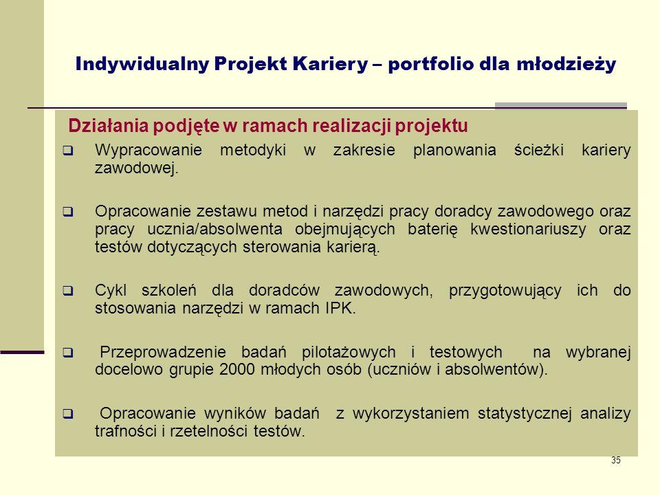 35 Działania podjęte w ramach realizacji projektu Wypracowanie metodyki w zakresie planowania ścieżki kariery zawodowej. Opracowanie zestawu metod i n