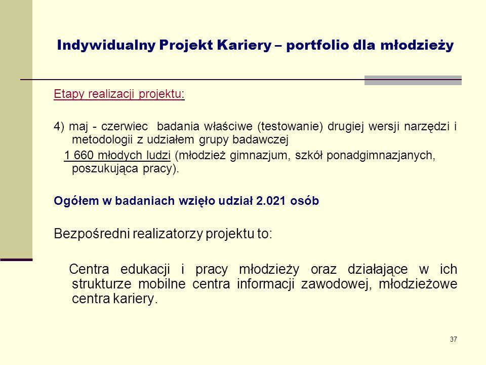37 Indywidualny Projekt Kariery – portfolio dla młodzieży Etapy realizacji projektu: 4) maj - czerwiec badania właściwe (testowanie) drugiej wersji na