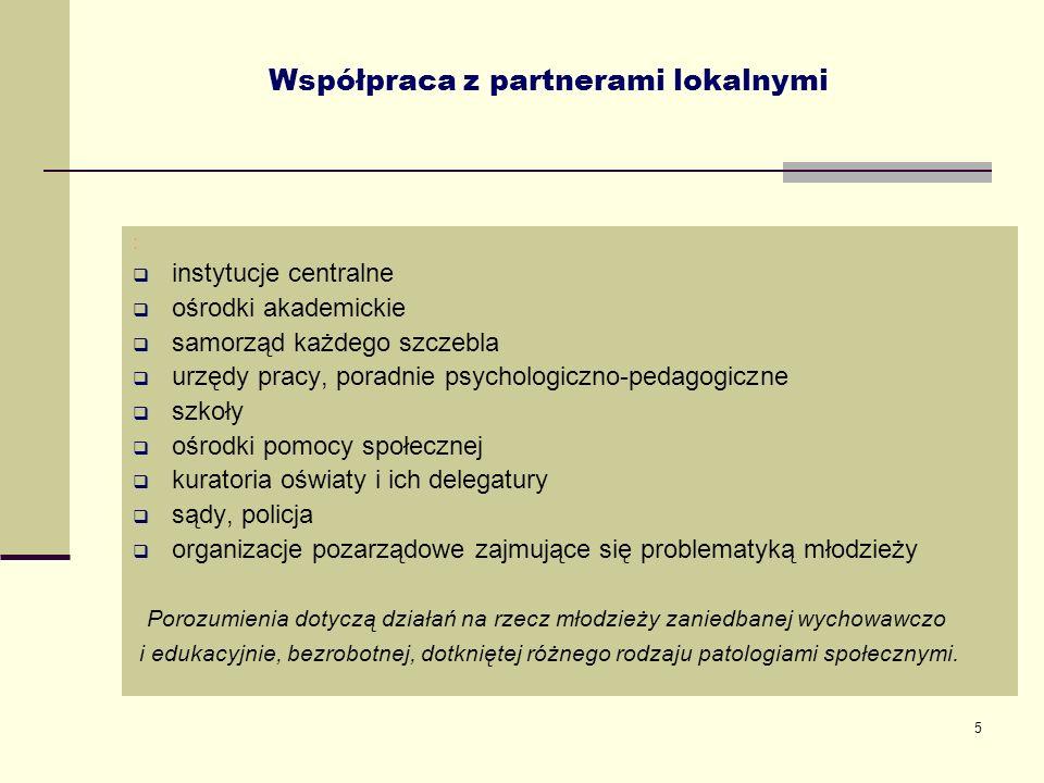 5 Współpraca z partnerami lokalnymi : instytucje centralne ośrodki akademickie samorząd każdego szczebla urzędy pracy, poradnie psychologiczno-pedagog