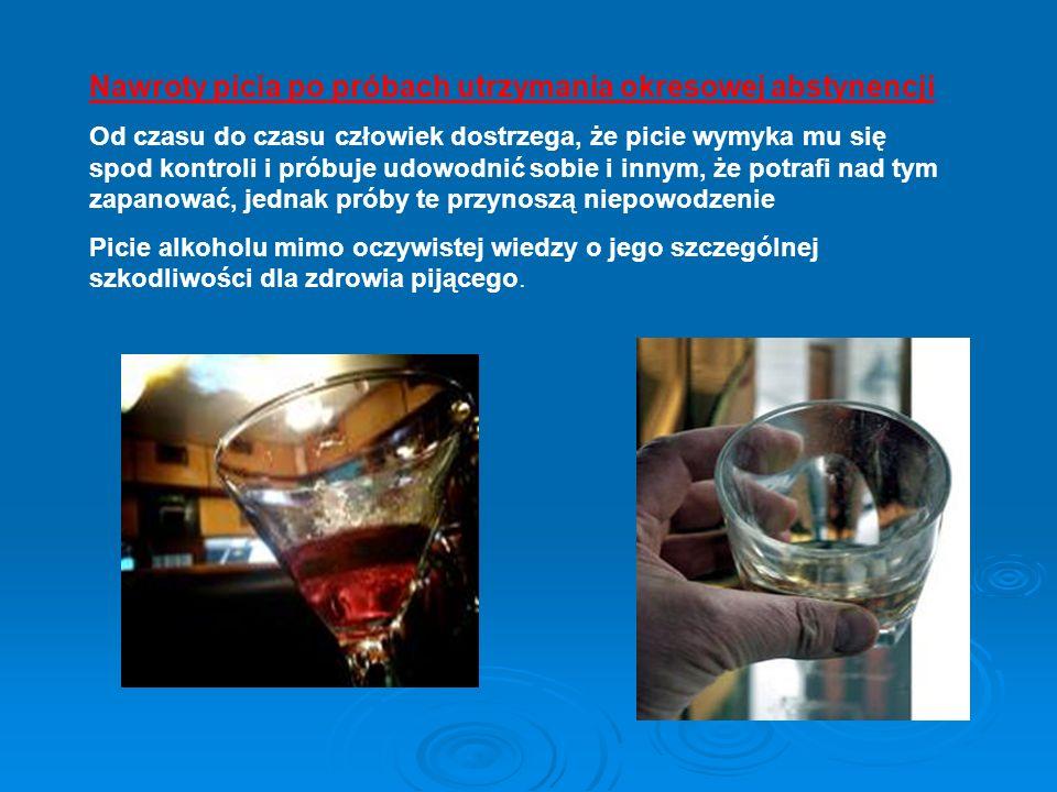 Nawroty picia po próbach utrzymania okresowej abstynencji Od czasu do czasu człowiek dostrzega, że picie wymyka mu się spod kontroli i próbuje udowodn
