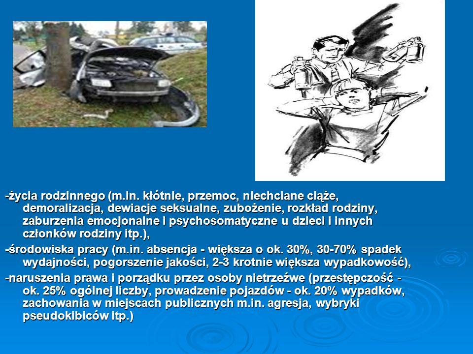 -życia rodzinnego (m.in. kłótnie, przemoc, niechciane ciąże, demoralizacja, dewiacje seksualne, zubożenie, rozkład rodziny, zaburzenia emocjonalne i p