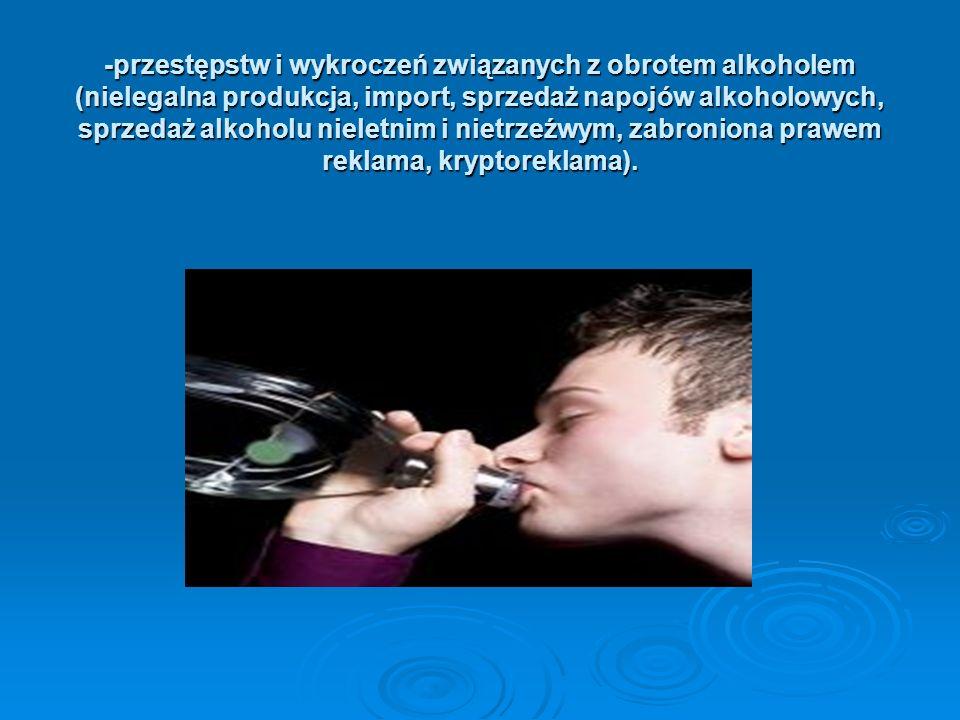 -przestępstw i wykroczeń związanych z obrotem alkoholem (nielegalna produkcja, import, sprzedaż napojów alkoholowych, sprzedaż alkoholu nieletnim i ni