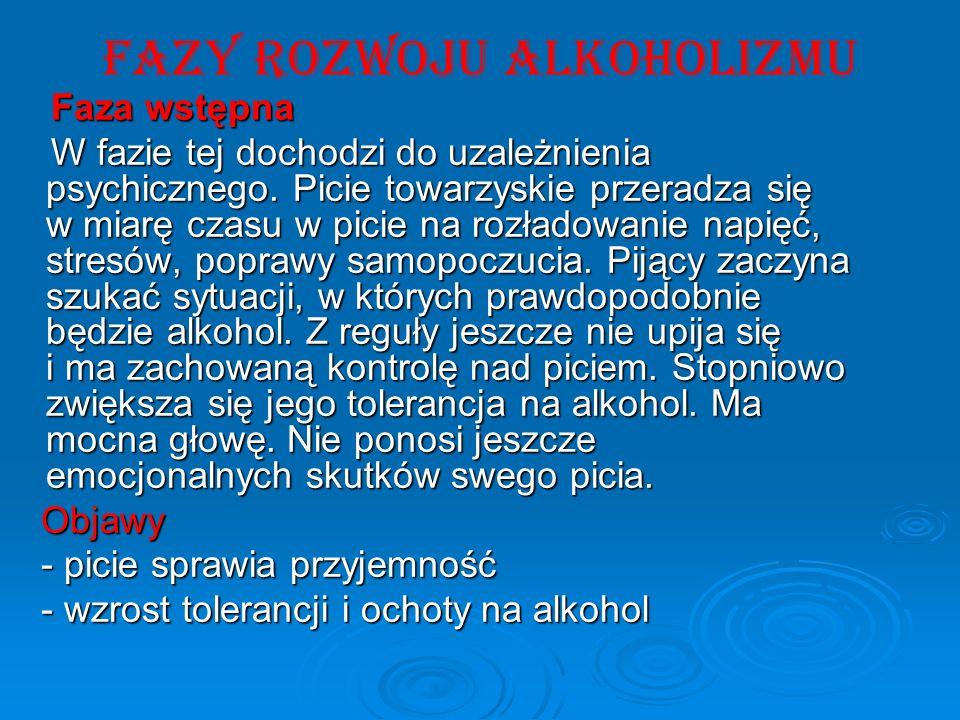 FAZY ROZWOJU ALKOHOLIZMU Faza wstępna Faza wstępna W fazie tej dochodzi do uzależnienia psychicznego. Picie towarzyskie przeradza się w miarę czasu w