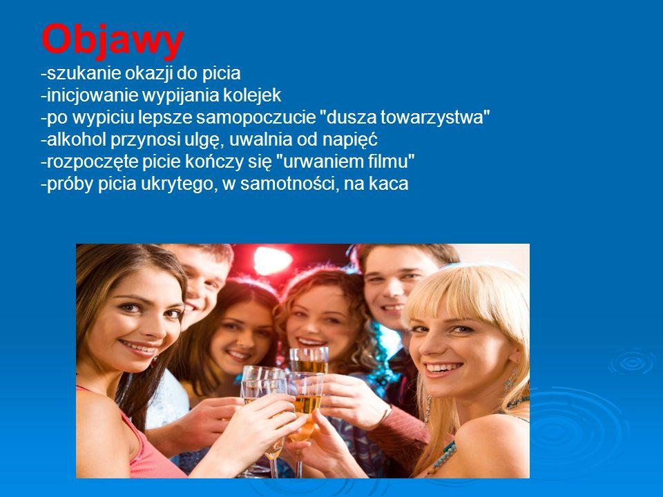 Objawy -szukanie okazji do picia -inicjowanie wypijania kolejek -po wypiciu lepsze samopoczucie