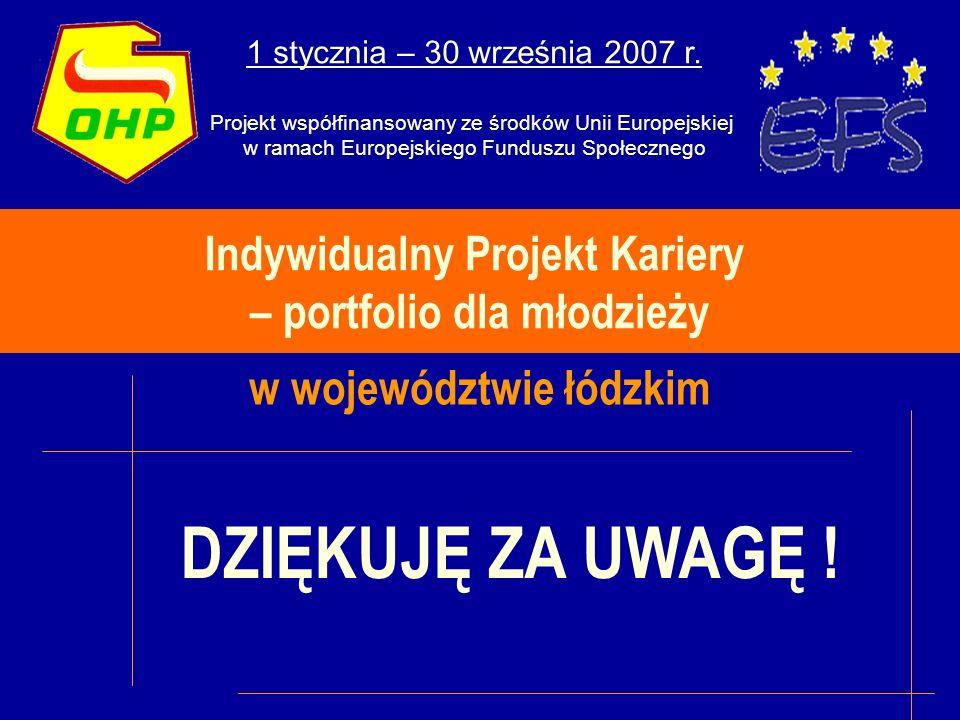 Indywidualny Projekt Kariery – portfolio dla młodzieży w województwie łódzkim 1 stycznia – 30 września 2007 r.