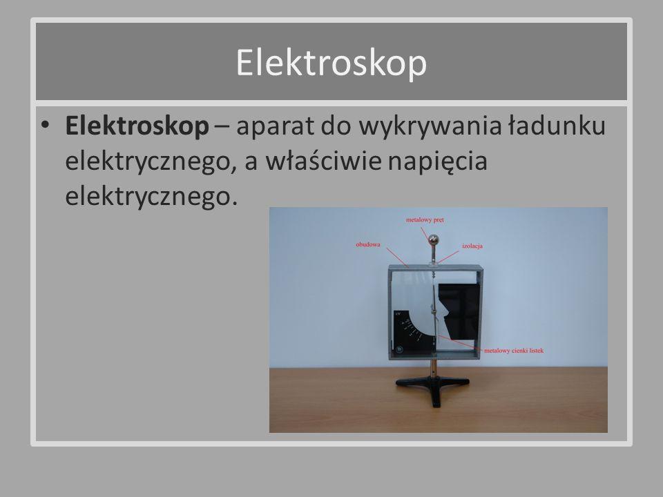 Elektroskop – aparat do wykrywania ładunku elektrycznego, a właściwie napięcia elektrycznego. Elektroskop