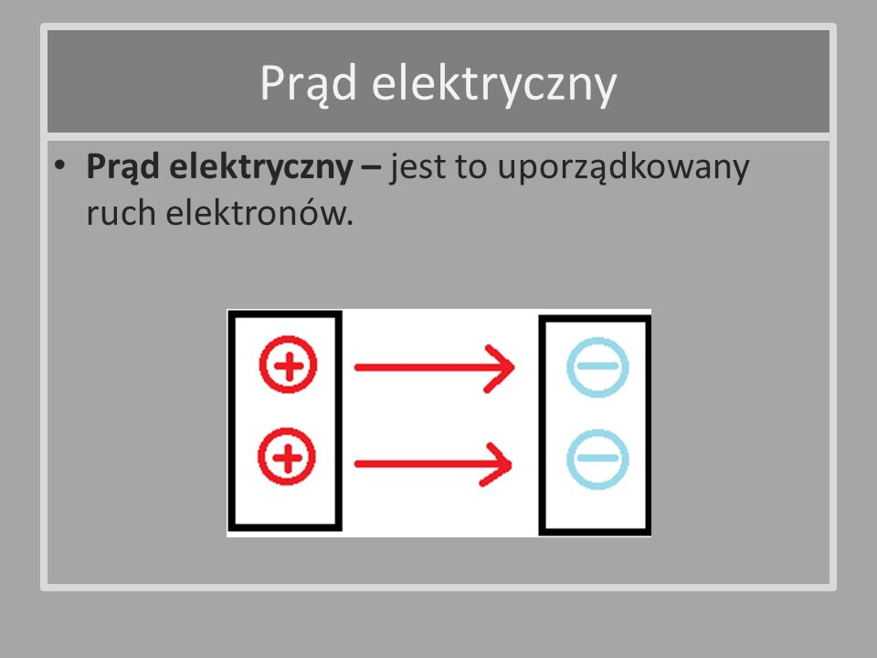 Prąd elektryczny – jest to uporządkowany ruch elektronów. Prąd elektryczny