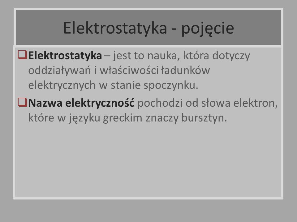Elektrostatyka – jest to nauka, która dotyczy oddziaływań i właściwości ładunków elektrycznych w stanie spoczynku. Nazwa elektryczność pochodzi od sło