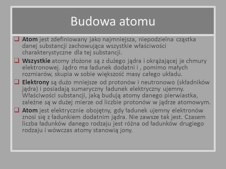 Atom jest zdefiniowany jako najmniejsza, niepodzielna cząstka danej substancji zachowująca wszystkie właściwości charakterystyczne dla tej substancji.