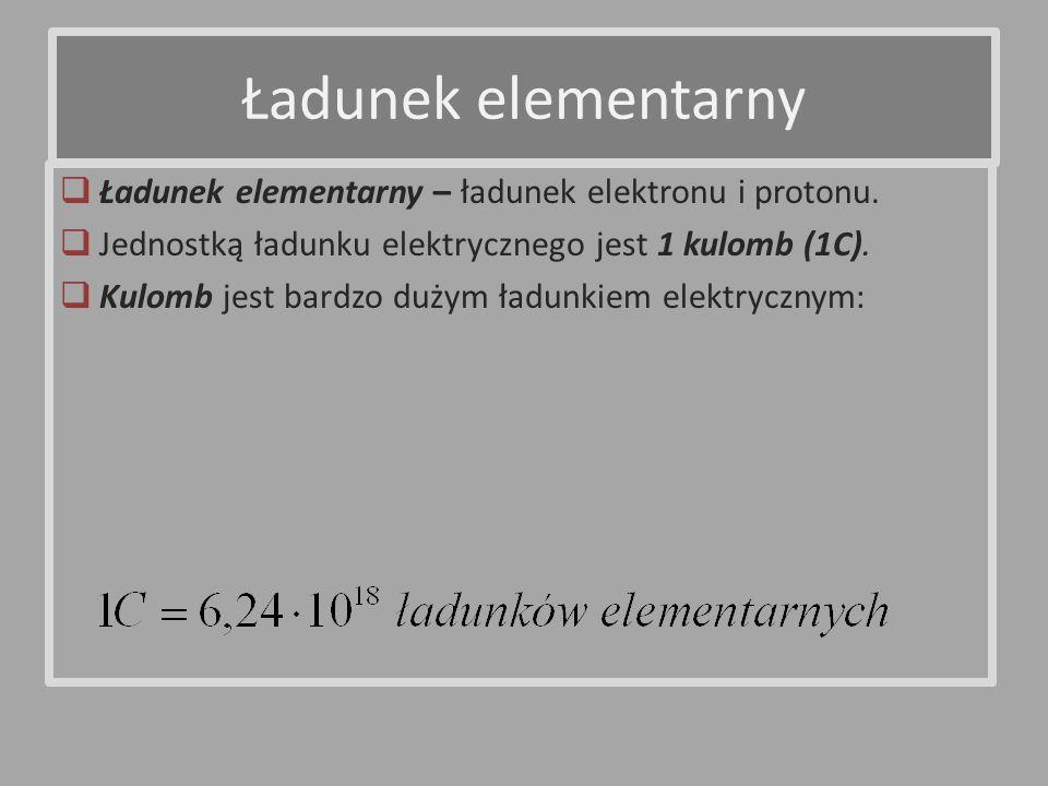 Ładunek elementarny – ładunek elektronu i protonu. Jednostką ładunku elektrycznego jest 1 kulomb (1C). Kulomb jest bardzo dużym ładunkiem elektrycznym