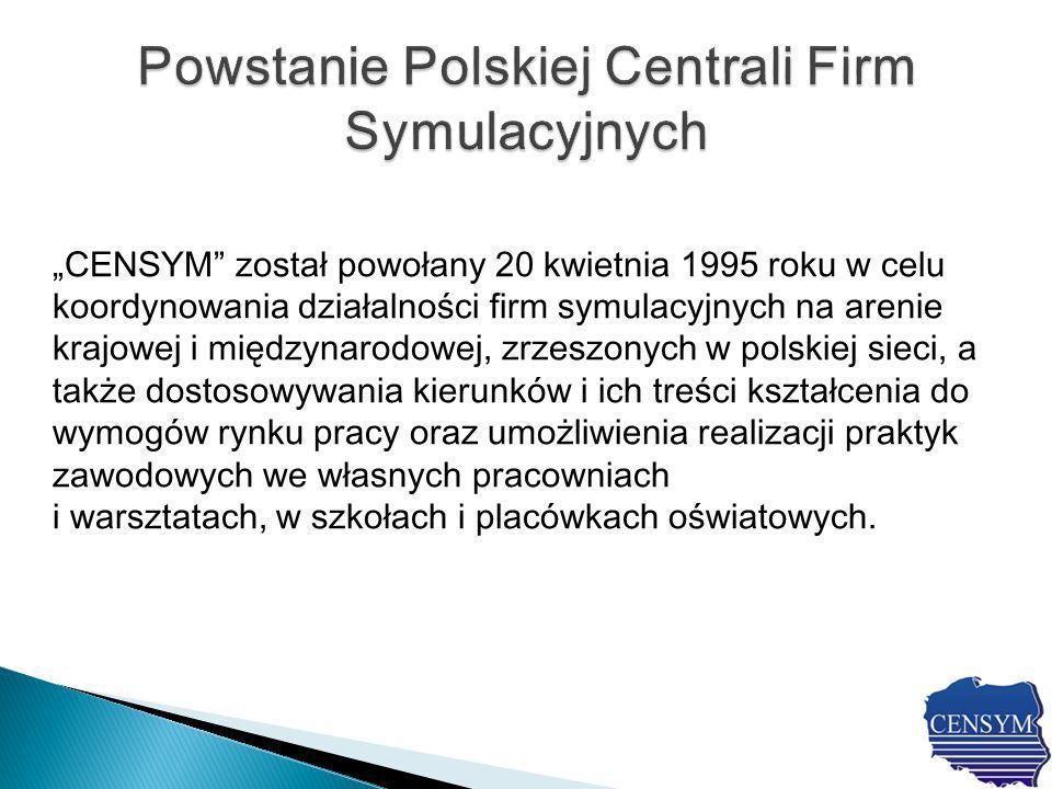 CENSYM został powołany 20 kwietnia 1995 roku w celu koordynowania działalności firm symulacyjnych na arenie krajowej i międzynarodowej, zrzeszonych w polskiej sieci, a także dostosowywania kierunków i ich treści kształcenia do wymogów rynku pracy oraz umożliwienia realizacji praktyk zawodowych we własnych pracowniach i warsztatach, w szkołach i placówkach oświatowych.