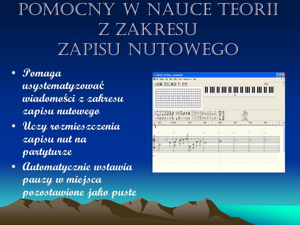 Wykorzystywany w tworzeniu zapisu nutowego z tabulatur ą tabulatur ą do fla ż oletu Pomaga w odtworzeniu melodii utworu Ma mo ż liwo ść przedstawienia tabulatury fla ż oletowej, co ułatwia gr ę na instrumencie