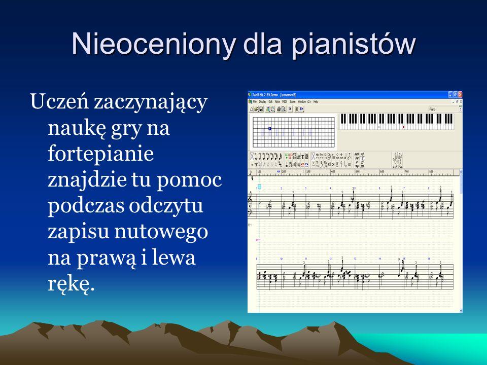 Tworzy partytury dla instrumentów Program ma możliwość stworzenia partytury dla kilku instrumentów Wybrane instrumenty mogą być opatrzone tabulaturą, co ułatwi odczytanie tekstu muzycznego