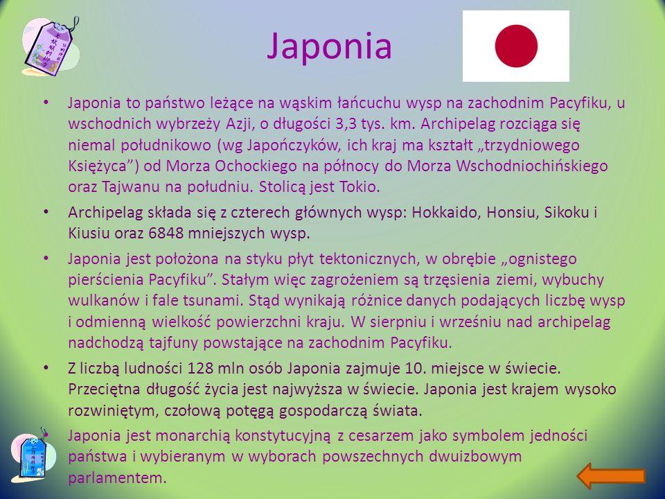 Japonia Japonia to państwo leżące na wąskim łańcuchu wysp na zachodnim Pacyfiku, u wschodnich wybrzeży Azji, o długości 3,3 tys.