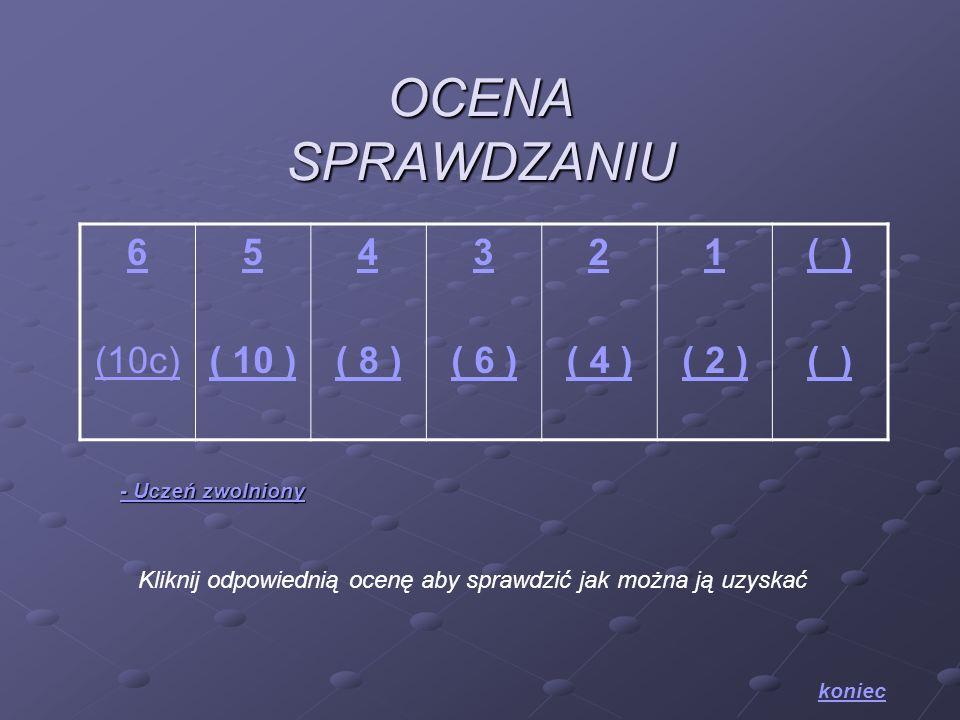 OCENA SPRAWDZANIU 6 (10c) 5 ( 10 ) 4 ( 8 ) 3 ( 6 ) 2 ( 4 ) 1 ( 2 ) ( ) Kliknij odpowiednią ocenę aby sprawdzić jak można ją uzyskać koniec - Uczeń zwo