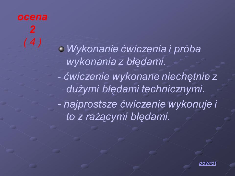 ocena 2 ( 4 ) Wykonanie ćwiczenia i próba wykonania z błędami. - ćwiczenie wykonane niechętnie z dużymi błędami technicznymi. - najprostsze ćwiczenie