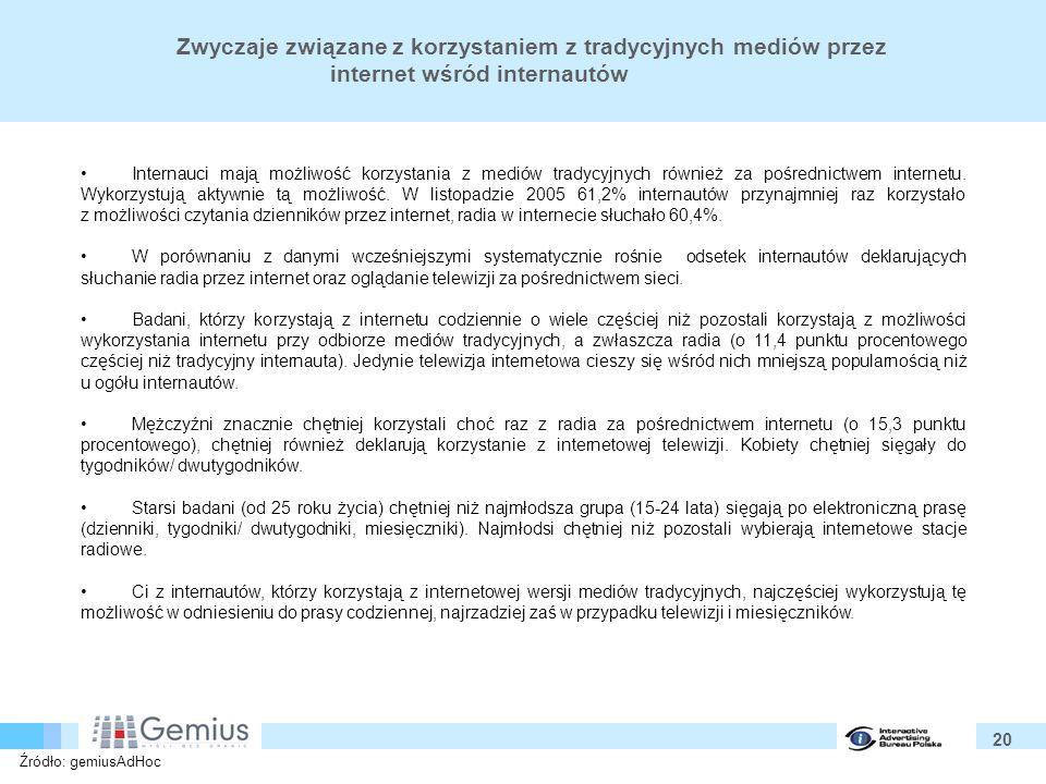 20 Zwyczaje związane z korzystaniem z tradycyjnych mediów przez internet wśród internautów Internauci mają możliwość korzystania z mediów tradycyjnych również za pośrednictwem internetu.