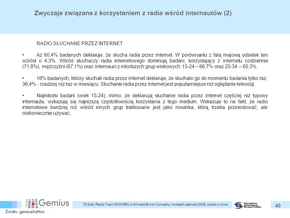 40 Zwyczaje związane z korzystaniem z radia wśród internautów (2) RADIO SŁUCHANE PRZEZ INTERNET Aż 60,4% badanych deklaruje, że słucha radia przez internet.