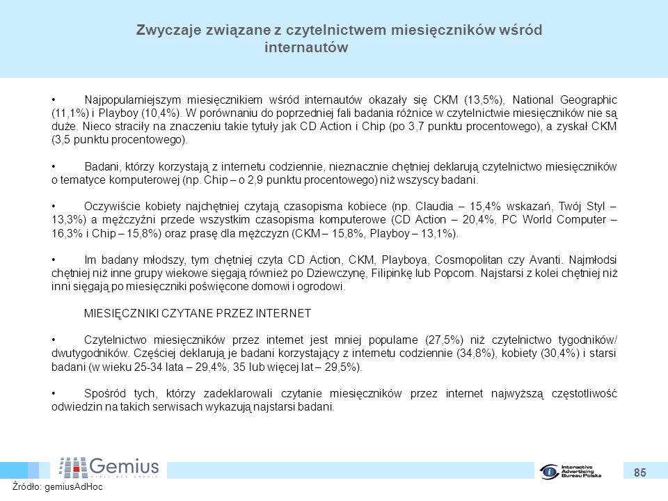 85 Zwyczaje związane z czytelnictwem miesięczników wśród internautów Najpopularniejszym miesięcznikiem wśród internautów okazały się CKM (13,5%), National Geographic (11,1%) i Playboy (10,4%).