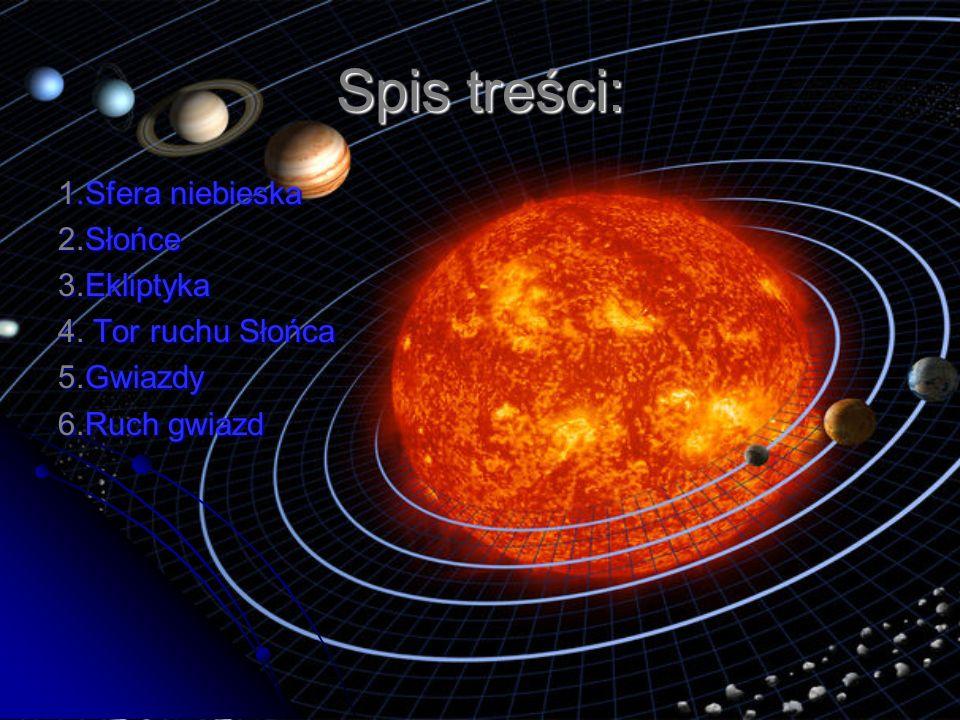 Spis treści: 1.Sfera niebieska 2.Słońce 3.Ekliptyka 4. Tor ruchu Słońca 5.Gwiazdy 6.Ruch gwiazd